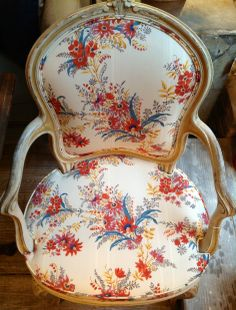 French Arm Chair upholstered in Tissus Tartares Été Moscovite Fabric