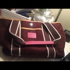 Coach Tote Bag Chocolate Brown. With pink accents. Suede Coach Bags Totes