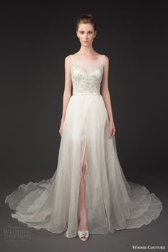 winnie couture bridal 2014 diamond label 3190 deidra sleeveless wedding dress illusion neckline