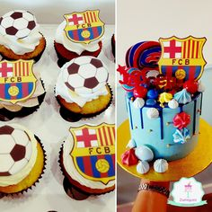 FC Barcelona Drip Cake and matching Cupcakes Novelty Birthday Cakes, Novelty Cakes, White Chocolate Ganache, Melting Chocolate, Barcelona Cake, Cupcake Cookies, Cupcakes, Fc Barcalona, Mickey Mouse Cake