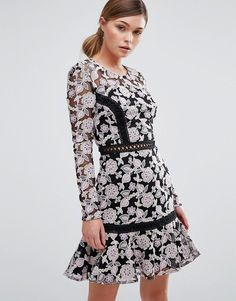 True Decadence Lace Dress with Contrast Ladder Detail and Flippy Skirt at ShopStyle