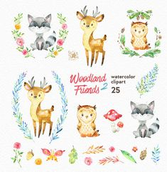 Woodland Friends 2. Watercolor animals clipart от StarJamforKids