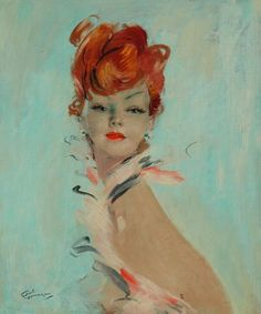 Can't get enough ofJean-Gabriel Domergue's ladies - elegant, thin, airy, with a swanlike neck and wide seductive eyes. These coquettes gaze upon the world and conquer it!
