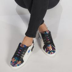 Teniși de dama din piele ecologica în culori combinate cu broderii it240118-44 | Fashionmix.ro