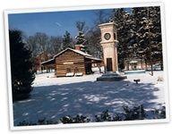 Snow covered city park