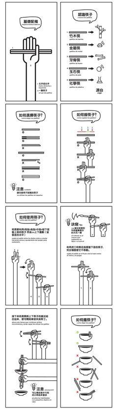 la técnica para utilizar los palillos japoneses