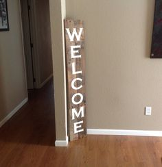 Large Tall Front Door Handmade Welcome Pallet Art Sign Home Decor Reclaimed Wood Home Outdoor Wooden Sign Hand Painted Signs by ItIsAllInTheDetails on Etsy