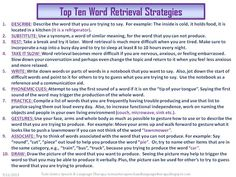 Twin Sisters Speech & Language Therapy: Top Ten Word Retrieval Strategies Source by juliaangeline Speech Pathology, Speech Language Pathology, Speech And Language, Aphasia Therapy, Cognitive Therapy, Occupational Therapy, Expressive Aphasia, Memory Strategies, Receptive Language