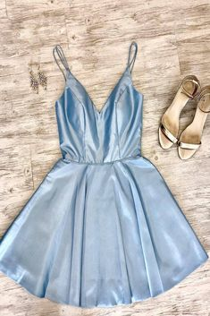 Double Straps Short Sky Blue Party Dress – Modcody Short Sky Blue Prom Dress Homecoming Dress, Double Straps, Satin Fabric, Above Knee Length. Hoco Dresses, Event Dresses, Dance Dresses, Sexy Dresses, Blue Dresses, Formal Dresses, Simple Homecoming Dresses, Graduation Dresses, Prom Dress