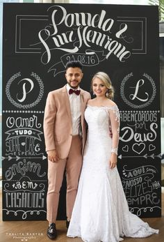 Painel Blackboard para Casamento.  Foto: Thalita Santos Photography   #Blackboard #Chalckboard