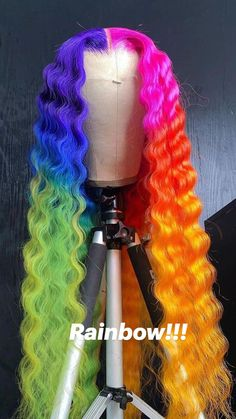 Colored Weave Hairstyles, Best Braid Styles, Curly Hair Styles, Natural Hair Styles, Rainbow Wig, Creative Hair Color, Cute Hair Colors, Dip Dye Hair, Hair Game