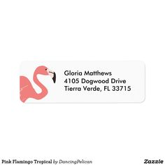 Pink Flamingo Tropical Label - A whimsical address label with a pink flamingo and your return address. Sold at Oasis_Landing on Zazzle.