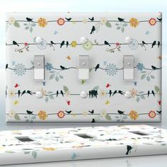 DIY Do It Yourself Home Decor - Easy to apply wall plate wraps | Flower vires Little bird silhouettes and flowers wallplate skin sticker for 3 Gang Toggle LightSwitch | On SALE now only $5.95