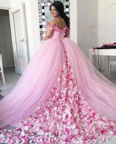 pink 3d flowers wedding ball gown elegant off the shoulder princess cheap wedding dresses boho vestido de noiva