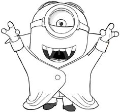 """Minion Halloween Coloring Pages from Minions Coloring Pages. On this page, you can find many drawings of Minions to color. The Minions are the funniest creatures in the movie """"Despicable Me"""" and """"Minions"""". Minion Coloring Pages, Halloween Coloring Pages, Cute Coloring Pages, Coloring Sheets, Coloring Books, Free Coloring, Chat Halloween, Minion Halloween, Halloween Vampire"""