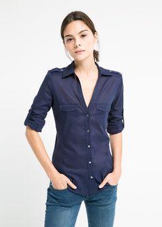 Camisa paneles canalé