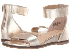 24 Wedding Sandals You Can Definitely Wear Again - pair of metallic gold ankle strap sandals with hidden wedge heel