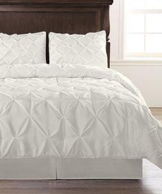 White Pinch Pleat Comforter Set by Exceptional Sheets #zulily #zulilyfinds