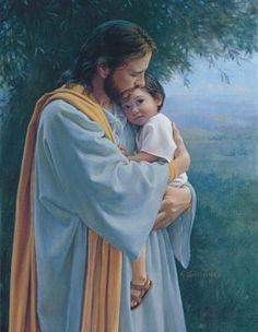 """Jesus with child.how precious.♥ """"In Thy Tender Care"""" by artist. God and Jesus Christ Image Jesus, Pictures Of Christ, Religious Pictures, Spiritual Pictures, Lds Art, Jesus Christus, My Jesus, Jesus Face, Christian Art"""