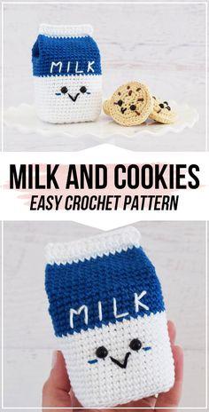 crochet Milk and Cookies patterncrochet Milk and Cookies pattern - easy crochet amigurumi pattern for beginners Crochet Food, Cute Crochet, Crochet For Kids, Crochet Crafts, Yarn Crafts, Crochet Baby, Crochet Projects, Paper Crafts, Quick Crochet Patterns