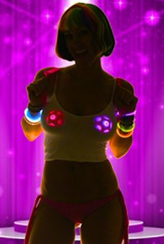 LED Pasties _ Rave Wear Costumes _ Stripper Clothes by SasswearShop Light Up Costumes, Led Costume, Burning Man Outfits, Neon Glow, Pink Stars, Gold Stars, Star Wars, Rave Outfits, Up Girl