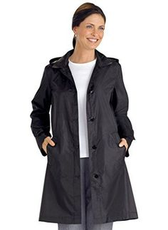 Packable Raincoat For Women. Be ready for anything with this lightweight raincoat. It's detailed with cuffs, welt-pockets, a self-tie belt and button front. It packs easily into the included travel pouch