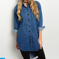 """Denim tunic style dress top •Denim material •Thick material •Shirt dress style •Tunic style fit •Collared •Button down closure •Two pockets on chest •High low style •S, M, L available •S:(L:31"""", B:19.5"""", S:20"""") •M:(L:32"""", B:21"""", S:21"""") •L:(L:31.5"""", B:21.5"""", S:22"""") •Brand new from vendor  •DO NOT PURCHASE THIS LISTING Tops Tunics"""