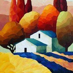 hillside-jewel Landscape Art, Landscape Paintings, Art N Craft, Naive Art, Painting Inspiration, Art Pictures, Watercolor Paintings, Cool Art, Art Drawings