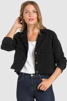 f20ff6f501 BELLA DAHL- Crop Military Jacket. ARC APPAREL. Sustainable Fall Fashion.  Made in