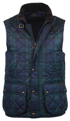Polo Ralph Lauren Quilted Outerwear Vest - Navy/Green Plaid