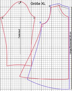 Kostenloses Schnittmuster Tunika Tunic pattern the front and sleeves in red, the back in blue. Each square is 2 cm Sewing Hacks, Sewing Tutorials, Sewing Projects, Clothing Patterns, Dress Patterns, Sewing Patterns, Tunic Pattern, Free Pattern, Sewing Clothes
