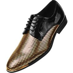 AmazonSmile | Amali Mens Black Patent Classic Oxford Tuxedo Dress Shoe... ($60) ❤ liked on Polyvore featuring men's fashion, men's shoes, mens oxford shoes, mens black oxford shoes, mens shoes, mens gold shoes and mens gold dress shoes