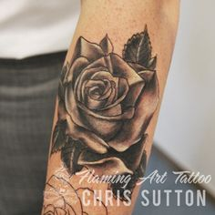 #rose #realistic #blackandgrey #flower #tattoo #tattoos #custom #design #art #artist #tattooartist #illustration #london #england #chrissutton