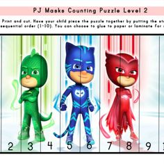 Available in Superhero Package on TPT. Counting Puzzles, Skip Counting, Superhero Preschool, Pj Mask, Learning Centers, Print And Cut, Your Child, Education, Children