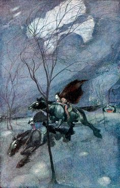 """Faust and Mephistopheles on the Common. From Goethe's """"Faust"""" illustrated by Willy Pogány (1908)"""