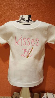 KISSES 25cents Cute Baby Girl Tee Shirt for that special Valentine. by StarStuddedCreate on Etsy