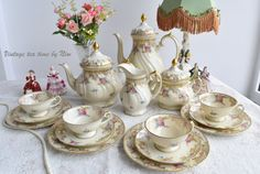 Vintage coffee set  flower coffee and tea by VintageTeaTimeByNiw