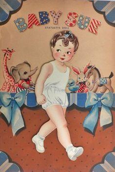 1944 Baby Sue Statuette Paper Dolls ~ Original, Uncut ~ Whitman Old Images, Vintage Images, Antique Dolls, Paper Dolls, Ephemera, Baby Dolls, Boxes, The Originals, Antiques