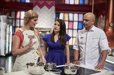 Rachel Khoo and Adriano Zumbo with contestant Ali wearing her Cargo Crew Sidney Bib Apron. Love an apron tied to the front!