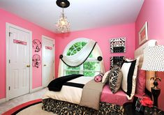 Wonderful Furniture Ideas For Coolest Teenage Girl Bedrooms: Charming Coolest Teenage Girl Bedrooms With Pink Paint Walls And White Flooring Also Arch Window