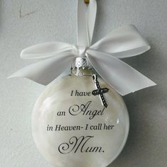 Sympathy Gift Loss of Mother Memorial Ornament In Memory of Mom in Heaven Personalized Bereavement Gift Remembrance Keepsake Ornament Bauble In Memory Christmas Ornaments, Memorial Ornaments, Memorial Gifts, Personalized Christmas Ornaments, Christmas Angels, Glass Ornaments, Christmas Time, Glitter Ornaments, Christmas Candle