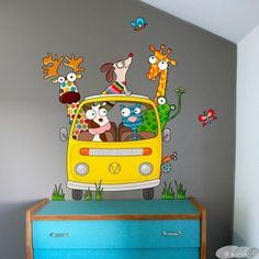 awesome wall stickers for kids room Murals For Kids, Art For Kids, Mural Art, Wall Murals, School Murals, Doodle Drawings, Whimsical Art, Painting For Kids, Kids Decor