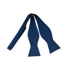 Navy Blue White Dotted Self-Tie Bow Tie www.vonfloerke.com