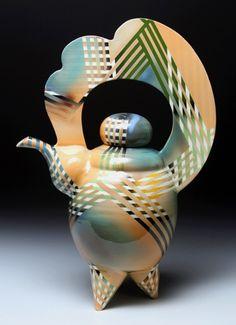 Thomas Hubert  Peach Cloud Teapot, 2010  Whiteware Ceramic, Wood, Underglaze, Glaze
