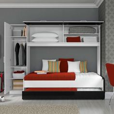 Built-in beds are options for decorating small spaces Baby Bedroom, Kids Bedroom, Bedroom Decor, Tropical Bedrooms, Built In Bed, Bed Wall, Upper Cabinets, Decorating Small Spaces, Home Decor Kitchen
