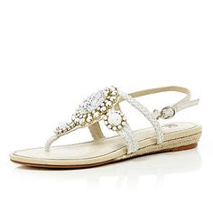 Jubilee - WHITE EMBELLISHED SANDALS from River Island