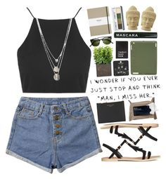"""""""Untitled #1745"""" by tacoxcat ❤ liked on Polyvore featuring Topshop, H&M, Aspinal of London, Gorjana, Korres, Nixon, Dinks, Shinola, Clinique and Puji"""