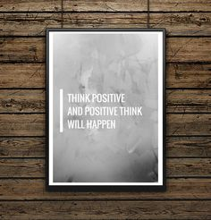 "Affiche illustration Typographie ""Think Positive"""