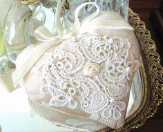 Sachet Heart Cottage Style Cream Ivory damask by CharlotteStyle, $12.50