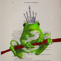 Prince Frog- ORIGINAL ARTWORK Hand Painted Mixed Media on 1920 Parisien Magazine 'La Petit Illustration' by Coco De Paris